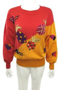 Gorgeous-ESCADA-Vintage-100-Cotton-Sweater-Fruit-Pineapple-Strawberry-40-US-10