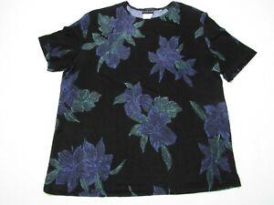 Citiknits-Womens-Med-M-Travel-Knit-Black-Blue-Flowers-Blouse-Top-Shirt-Romantic