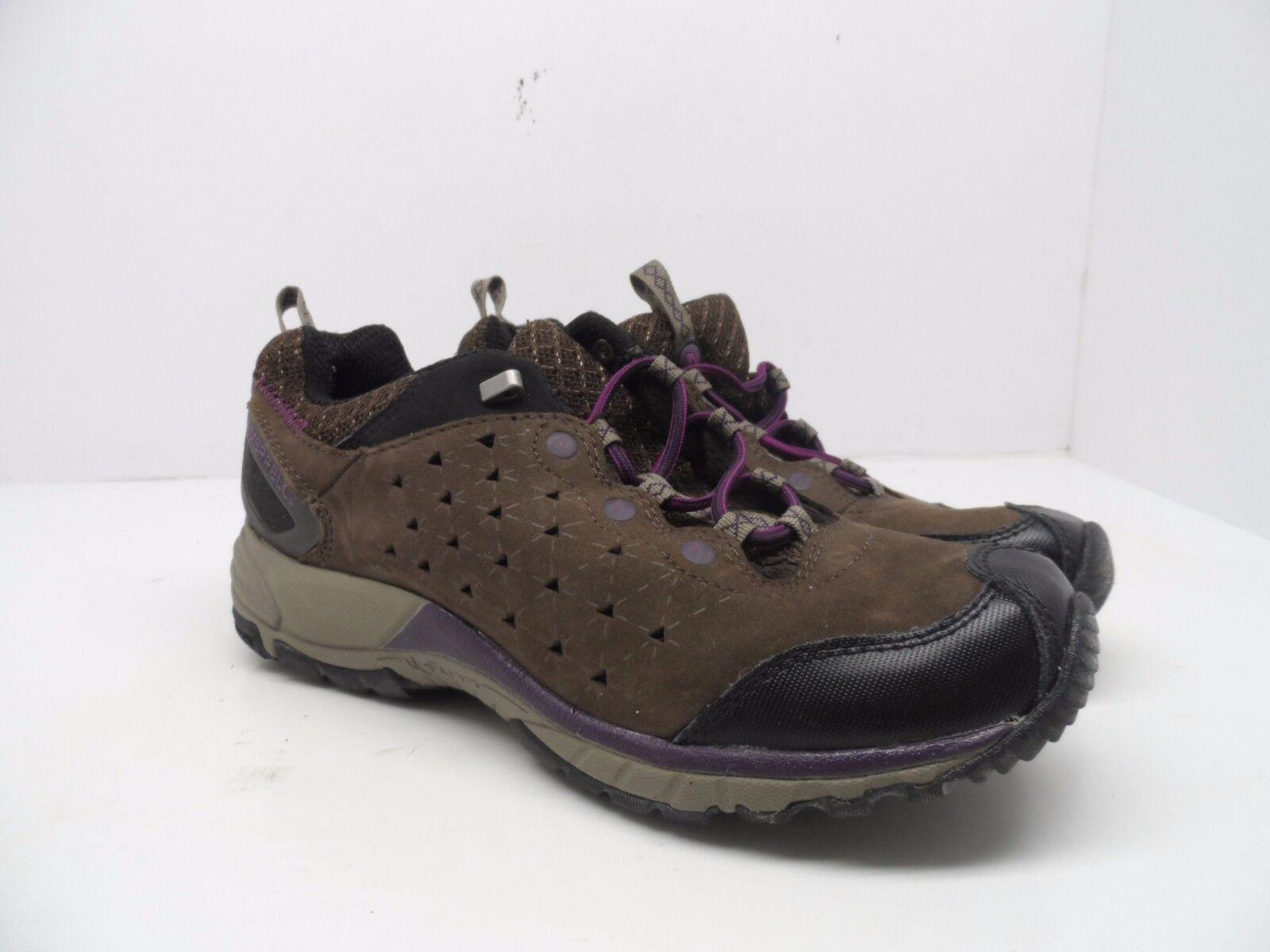 Merrel Women's Avian Light Leather Bracken Hiking Trail shoes Brown Purple 8.5M