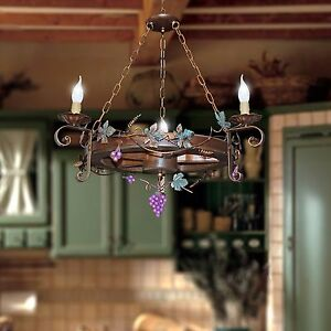 Chandelier Wagon Wheel Rustic 3 Lights In Wood And Wrought Iron Craft Ebay
