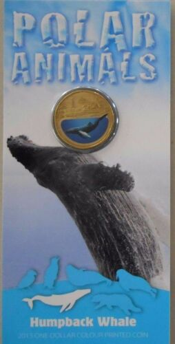 "2013 Polar Animals /"" WHALE /"" Uncirculated $1 One Dollar Coin UNC in Card"