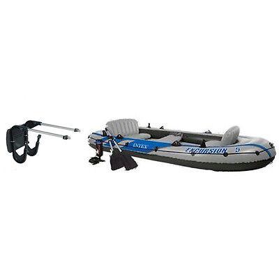 Intex Excursion 5 Inflatable Rafting/Fishing Boat Set & Motor Mount Kit