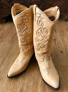 Vintage-Zodiac-Boots-Women-039-s-Size-8M-409007-Cowboy-Style-Buttercream-Leather