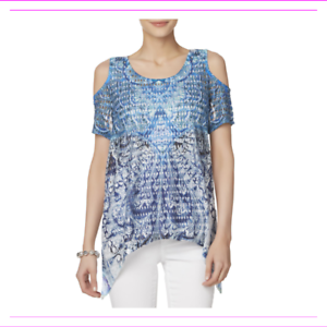 simply styled Women/'s Cold Sholder Abstract Print Short Sleeve 2PC Top Set