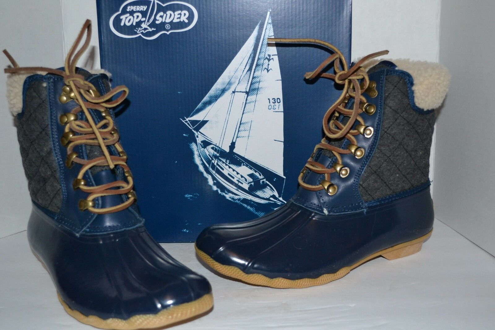 56474134a213f Sperry for J Crew Wool Lined Shearwater Navy charcoal Duck Boot Snow ...
