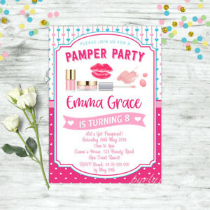 PAMPER-PARTY-INVITATIONS-SPA-BIRTHDAY-INVITE-BEAUTY-FACIAL-PARTY-SUPPLIES-GIRLS