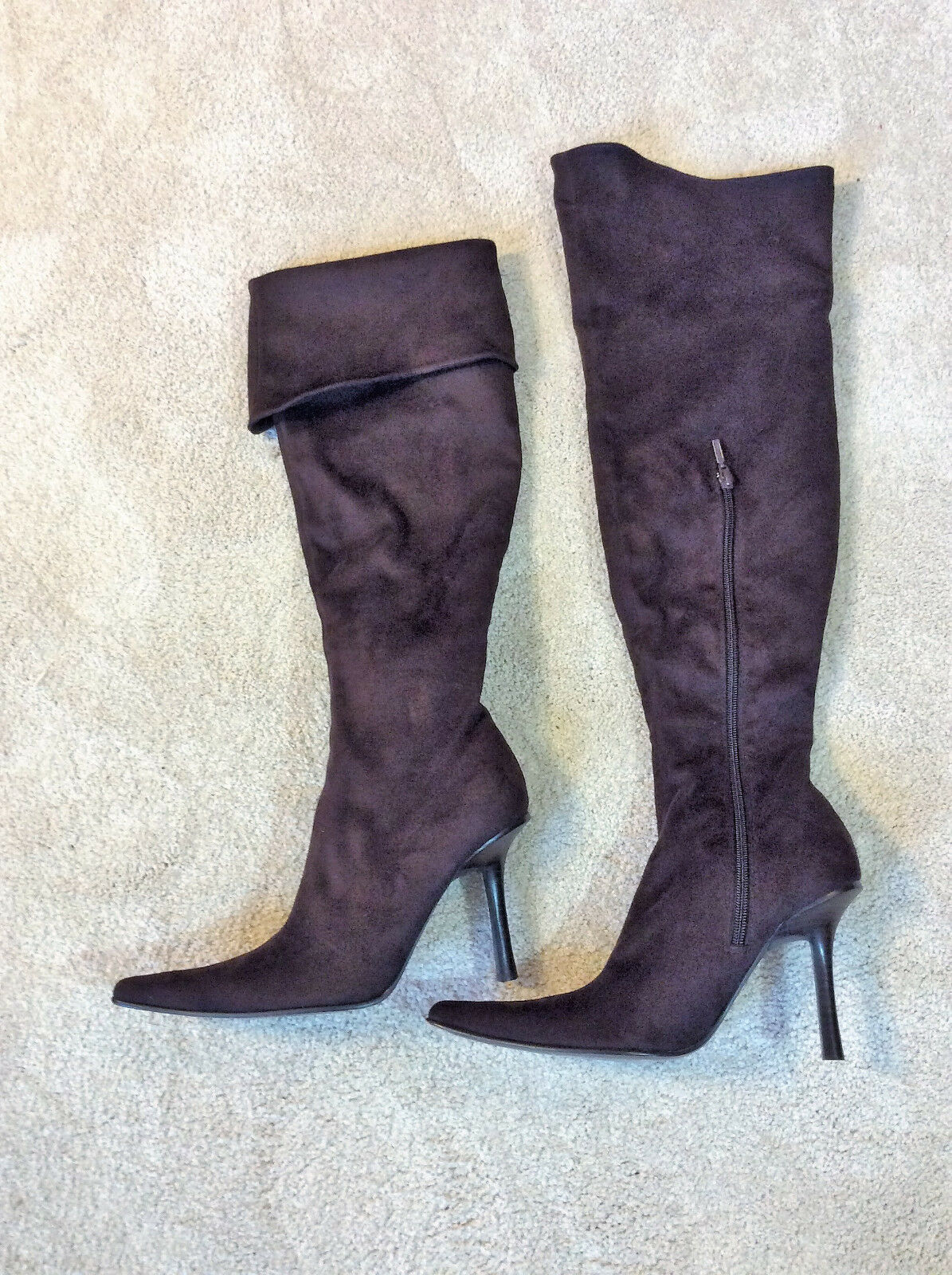 Bebe Women's Dark Brown Faux Suede Pointy Toe Thigh High Boots Size 9M