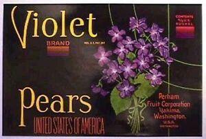 Violet c1920/'s apple Crate Label Perham Fruit Yakima Washington early litho