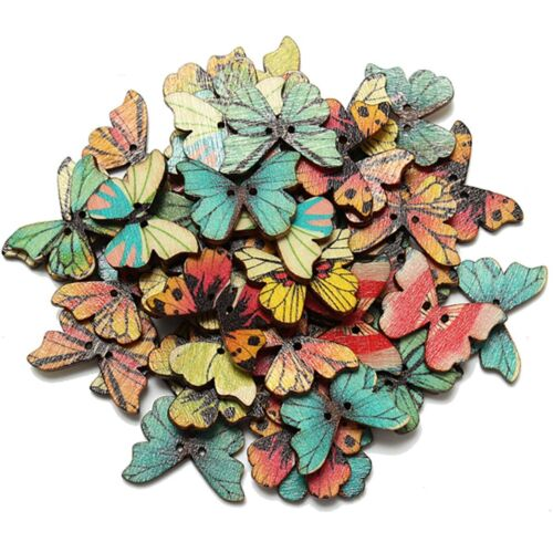 50pcs 2 Holes Mixed Butterfly Wooden Button Sewing Scrapbooking DIY Craft AD