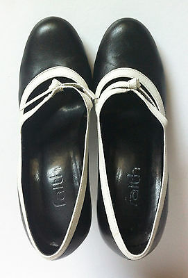 FAITH shoes Mary Janes size 3 EU size 36 black & white leather worn once GC