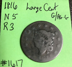 1816-Coronet-Matron-Head-Large-Cent-N-5-R3-Obverse-Good-Reverse-Ag