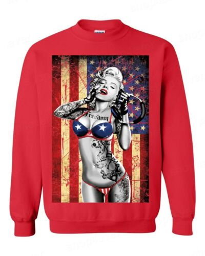 Marilyn Monroe Bikini American Flag Crewneck 4th of July USA Pride Sweatshirt