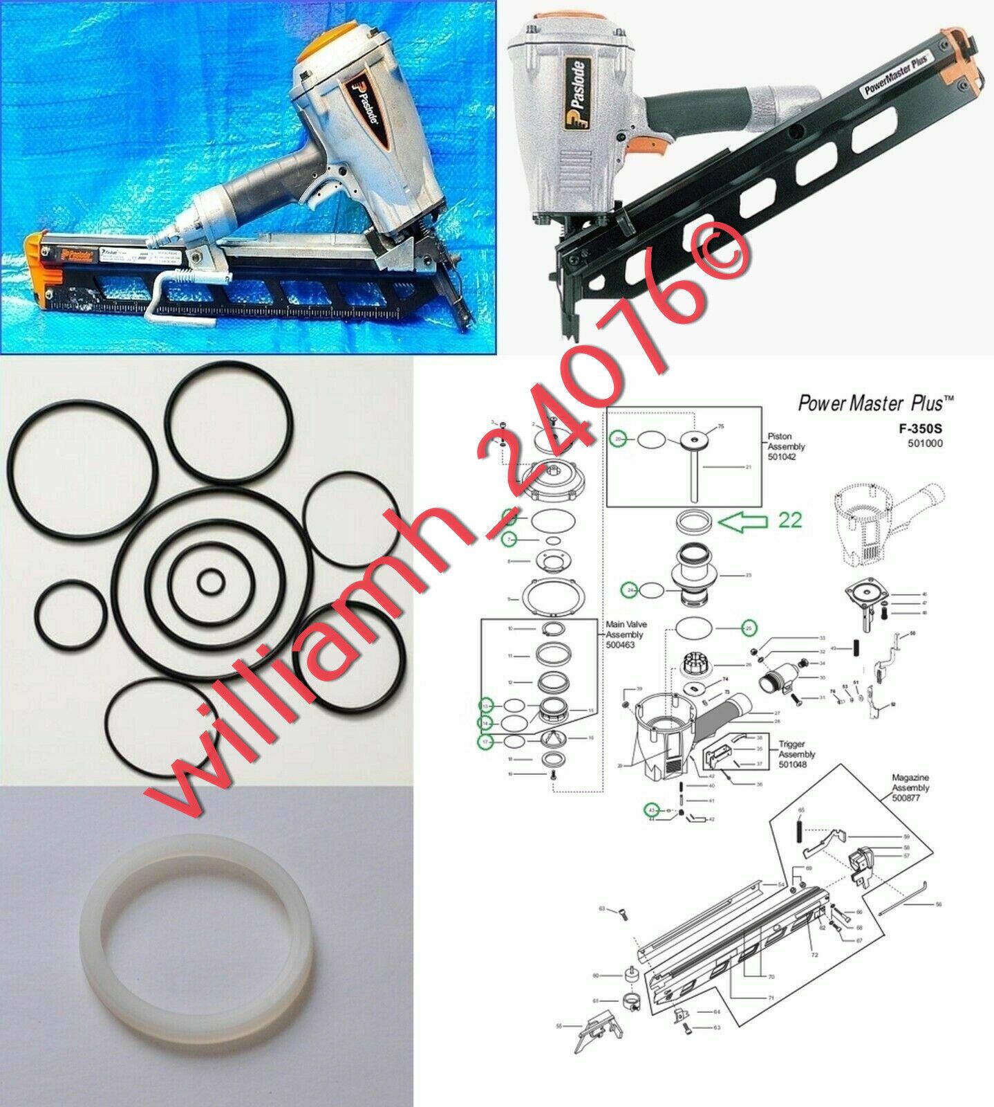 New Paslode Framing Nailer F350-S O-ring and 402011 Cylinder Seal Rebuild Kit.