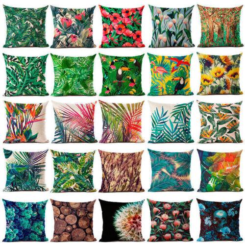 Floral Tropical Plant Leaf Kissenbezug Dekokissen Fall Home Sofa Decor Yd