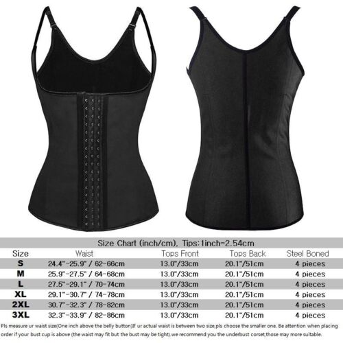 Latex Rubber Waist Trainer Cincher Vest Shapewear Body Shaper Underbust Corset