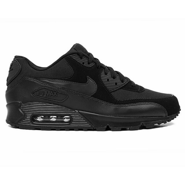 Nike AIR MAX 90 M 90 Leather Running Shoes TRIPLE BLACK 302519 001 Men SZ 9