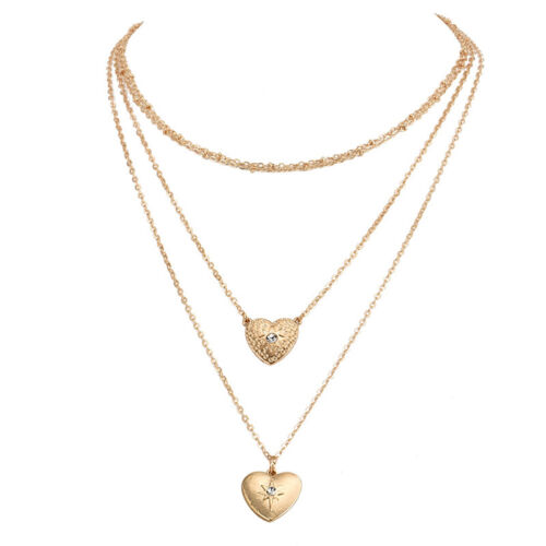 Party Heart Pendant Multi-Layer Necklace Gold Jewelry Diamond Ladies Women/'s HY