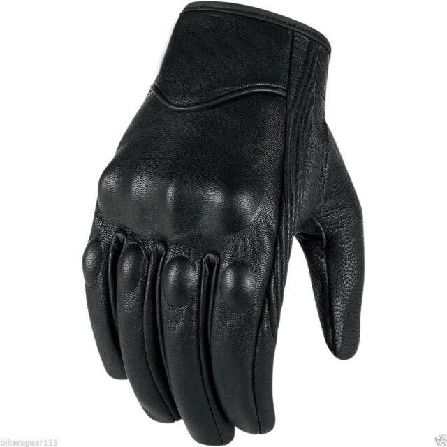 Motorcycle Black Leather Harley Style Cruiser Summer Gloves