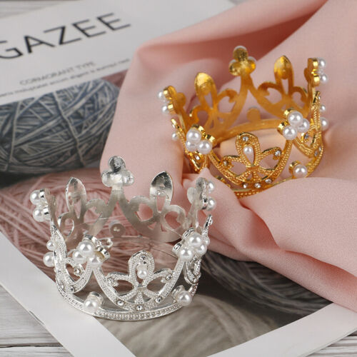Details about  /Mini Gold Crown Princess Topper Crystal Pearl Tiara Hair Valentine/'s Day YJlu
