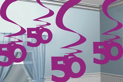 50th Birthday Pink Hanging Foil Swirls Decorations