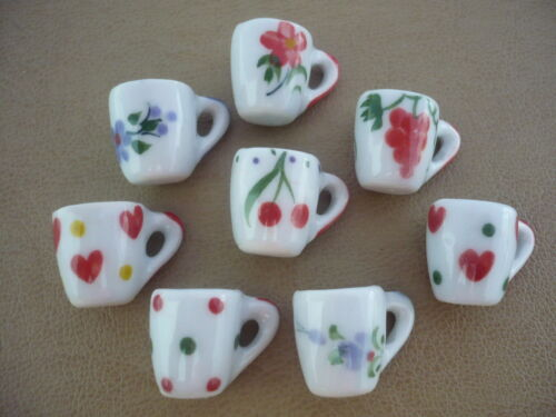 8 Mix Coffee Mug Ceramic Hand Painted Art Dollhouse Miniatures Kitchenware