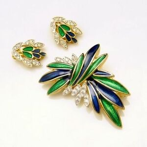 POLCINI-Vintage-Brooch-Pin-Earrings-Set-Blue-Green-Enamel-Rhinestones-Gold-Plate