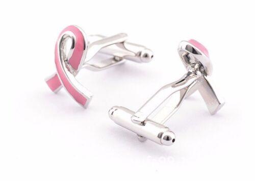 High Quality Pink Ribbon Cufflinks silver Tone Cuff links tie clip Wedding Bow