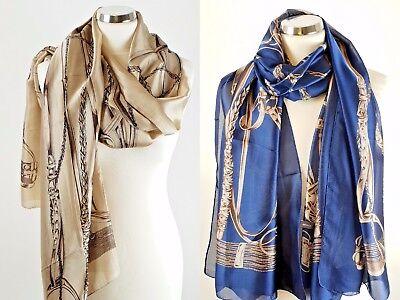 LUSCIOUS SILK Elegant Women ladies100/% Silk Chain and buckle print Scarf Wrap