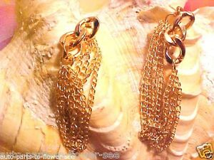 Details About Long 2 3 4 Inches Dangle Stud Connect At Ear Golden Double Chain Earrings