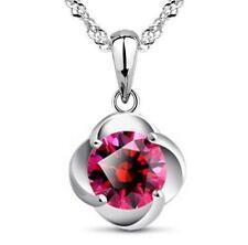 925 Silver Red Zircon Pendant Necklace Elegant Fashion Jewelry Birthday Gift
