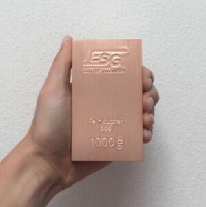Germany-ESG-1-kg-kilo-1000-g-grams-999-Fine-Copper-Bar-Cu
