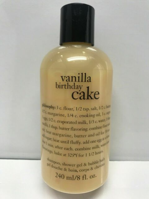 PHILOSOPHY Vanilla Birthday Cake Shower Gel Shampoo Bubble Bath 8oz 240mL