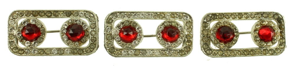 ANTIQUE DECO CLEAR & RED PASTE RHINESTONES SET 3 SWEATER DRESS PINS NICE