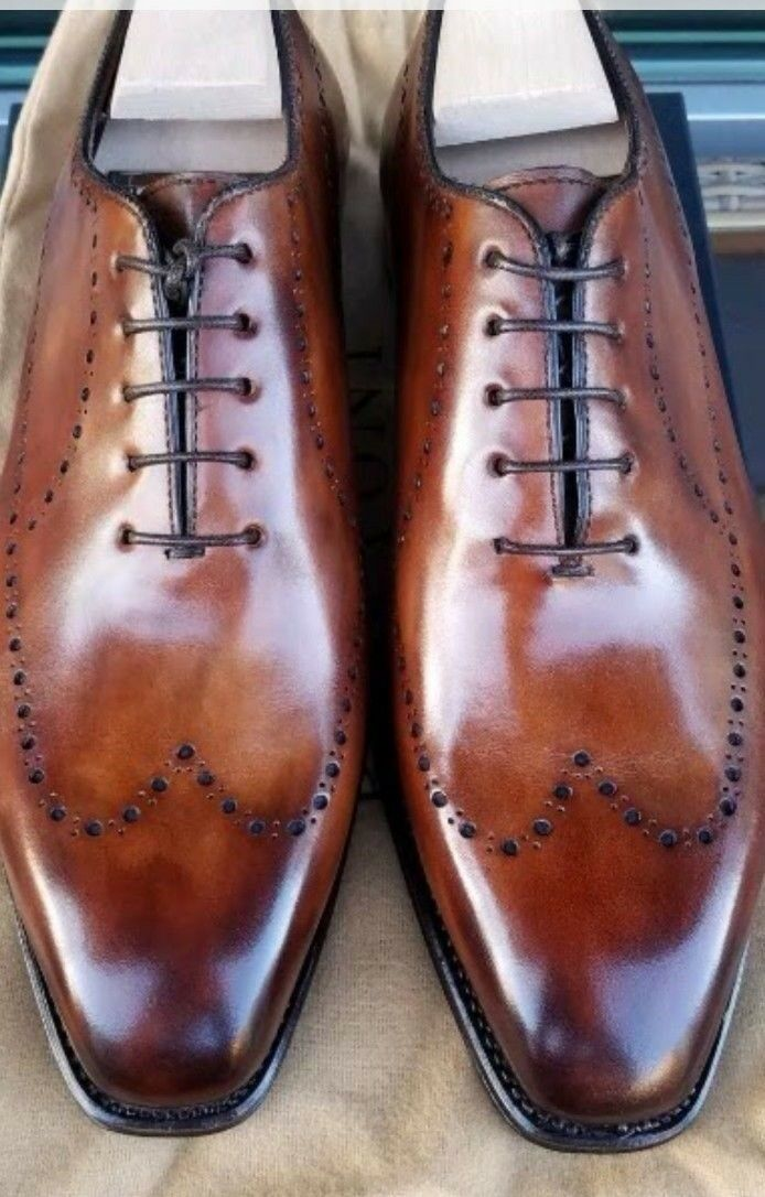 Hand Stitched Mens Latest Simple Brogues Leather Shoes, Luxury shoes for him