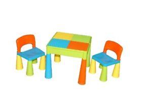 Details zu Kinder Tisch + 2 Stühle LEGO Set 3in1 Baby Spieltisch  Kindermöbel Sitzgruppe
