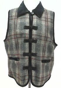Vintage femmeexcellent carreaux en pour et à Equestian laine voirvoir mesures velours à Gilet xtdBQChsr