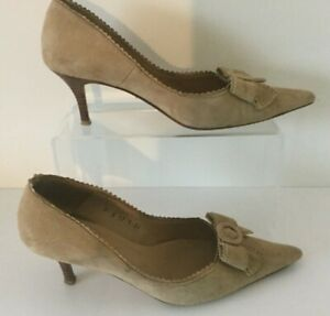 Vintage-L-K-Bennett-Pointed-Light-Tan-Suede-Heels-Court-Shoes-Size-UK-4-EUR-36