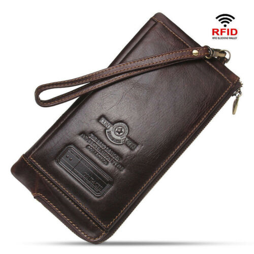 Men Wallet Clutch Genuine Leather RFID Organizer Cell Phone Bag Long Coin Purse