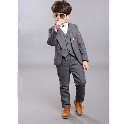 Formal Kid Boy Blazer Suit Set Coat Pants Party Performance Tuxedo Soft Vest
