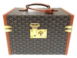premium selection 59403 3f527 Details about GOYARD Herringbone Jewelry Box Case Hand Bag Brown PVC Wood  Leather Rare