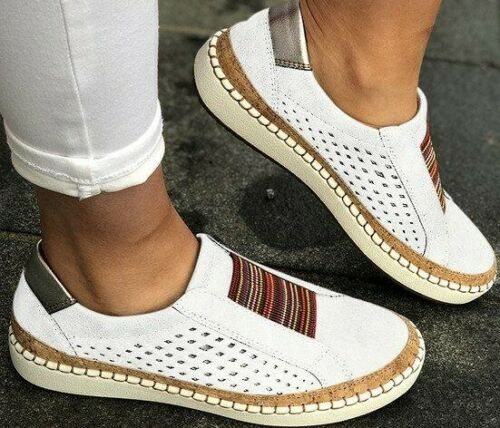 Womens Summer Slip On Low-cut Vulcanize Flat Trainers Casual Shoes 4.5-11 JR15