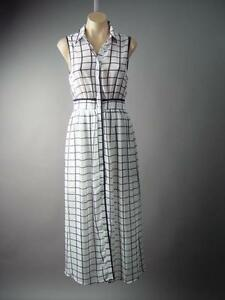 Beige Black Geometric Grid Check Houndstooth Print Office Shift 189 mv Dress S M