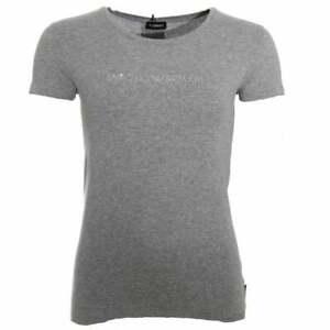 Emporio-Armani-Women-Diamante-Logo-Stretch-Cotton-Crew-Neck-T-Shirt-Grey