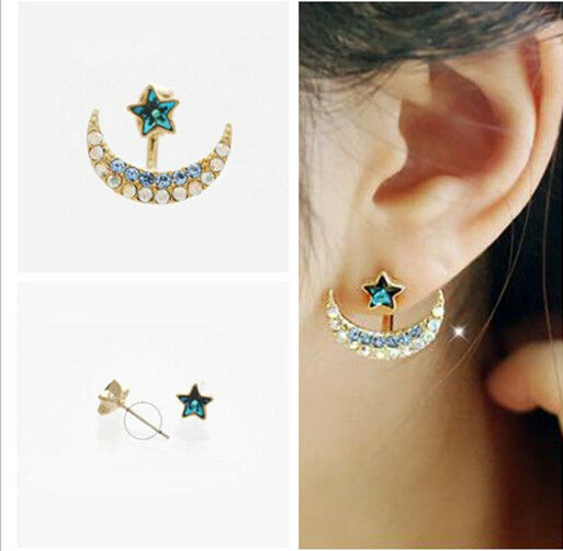 Pair Front & Back Star Moon Stud Earrings Crystal Rhinestone Womans Ear Jewelry