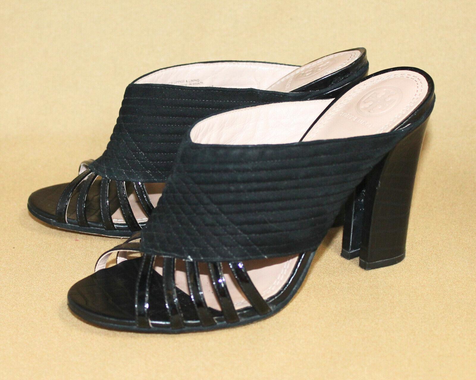ORY BURCH Brida Open Toe High  Heel Mule Wo's 7M nero Quilt Suede Patent Lthr  risparmia fino al 70%