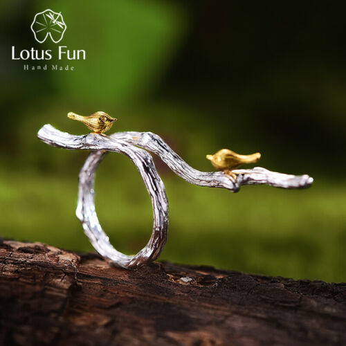 Lotus Fun 18K Yellow Gold Bird Solid 925 Sterling Silver Ring for Women Jewelry
