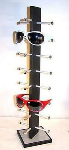 BRAND NEW 8 PAIR BLACK WOODEN SUNGLASS DISPLAY RACK wood sunglasses holder