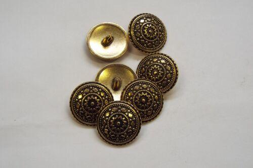 8pc 15mm oro antiguo en metal inspirado en turco Abrigo Cardigan De Punto Botón 3349