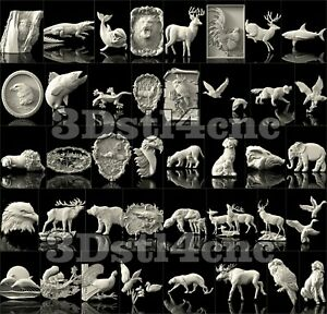 40-3D-Model-STL-CNC-Router-Artcam-Aspire-Animals-Set-Cut3D-Vcarve