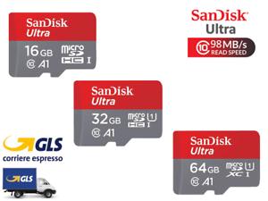 MICRO SD SANDISK ULTRA 16 32 64 GB CLASS 10 SCHEDA DI MEMORIA 98MB/S MEMORY CARD